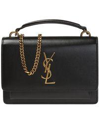 Saint Laurent - Women's Black And Gold Kate Leather Belt Bag - Lyst