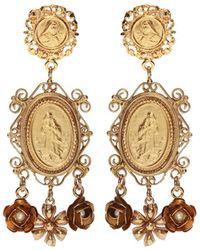 Dolce & Gabbana - Floral Motif Clip-on Earrings Gold - Lyst