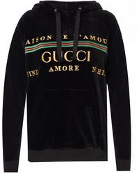 Gucci Embroidered Logo Hoodie - Black