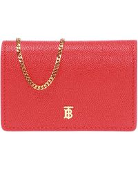 Burberry Card Holder On A Chain - Red