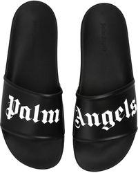 Palm Angels Slides With Logo Black