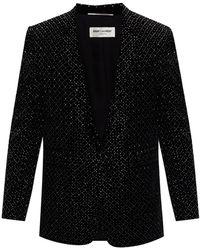Saint Laurent Velour Blazer - Black