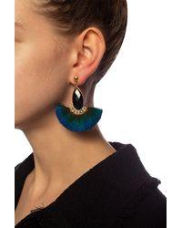 Gas Bijoux 'serti Paon Feather' Earrings Gold - Metallic
