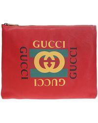 Gucci Print Leather Medium Portfolio - Red