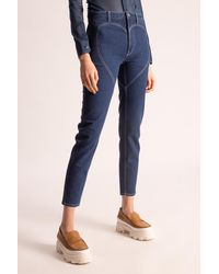 Burberry Jeans With Stitching Details Navy Blue