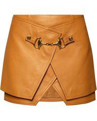 Balmain Leather Skirt Brown