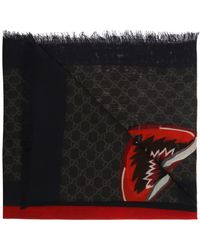 Gucci Scarf With Wolf Head And 'web' Stripes Motives - Multicolor