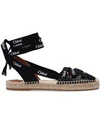 Chloé - Lace-up Espadrilles Black - Lyst