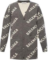 Balenciaga Cardigan With Logo Gray