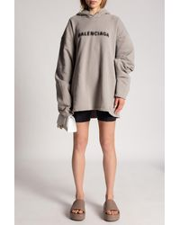Balenciaga Oversize Hoodie With Logo - Grey