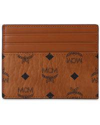 MCM Branded Card Case Brown