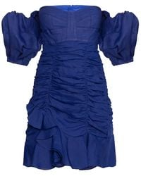Isabel Marant Short Dress With Open Shoulders - Blue
