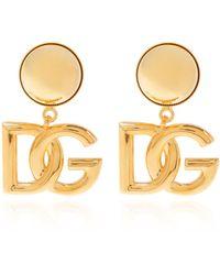 Dolce & Gabbana Clip-on Earrings With Logo Gold - Metallic