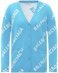 Balenciaga Logo Oversize Cardigan - Blue