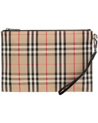 Burberry Check Clutch - Brown