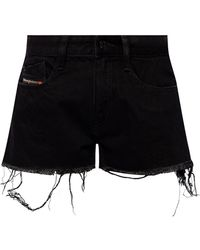 DIESEL Raw-cut Denim Shorts - Black