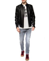 DIESEL Leather Jacket With Standing Collar Black