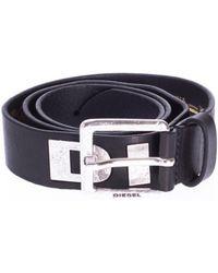 DIESEL Leather Belt With Metal Logo - Black