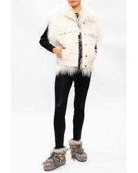 Michael Kors Faux Fur Trim Dress - Natural