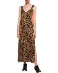 Marcelo Burlon Patterned Slip Dress Brown