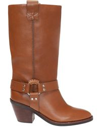 See By Chloé Logo-embossed Heeled Boots Brown
