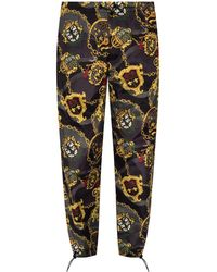 Versace Jeans Couture Patterned Trousers Black - Multicolour