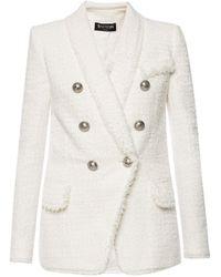 Balmain Textured Blazer - White
