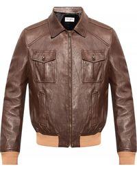 Saint Laurent Leather Jacket - Brown