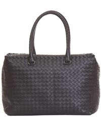 9d3d55f007ea Lyst - Bottega Veneta Chene Python Brick Bag in Brown