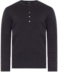 Theory Long-sleeved Henley Shirt Grey