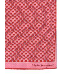 Ferragamo Silk Pocket Square Red