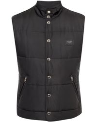 Dolce & Gabbana Nylon Vest With Branded Plate - Black