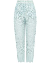 Dolce & Gabbana Openwork Pants With Lace Trim Light Blue