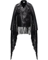 Vetements Fringed Biker Jacket Black