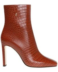 Jimmy Choo 'minori' Leather Ankle Boots - Brown
