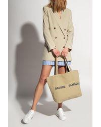Samsøe & Samsøe Shopper Bag With Logo - Natural