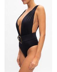 Balmain One-piece Swimsuit With Logo - Black