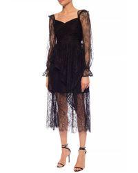 Self-Portrait Lace-trimmed Skirt Black