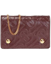 Burberry Card Case On A Chain - Purple