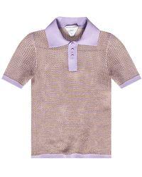 Bottega Veneta Openwork Polo Shirt Purple