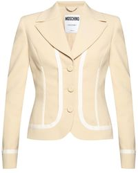 Moschino Blazer With Notched Lapels - Natural