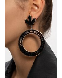 DSquared² Round Logo Earrings - Black
