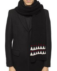 Saint Laurent Embroidered Scarf Black