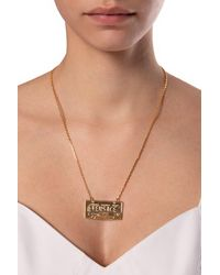 Versace Necklace With Logo Gold - Metallic