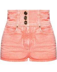 Balmain High-waisted Denim Shorts Pink