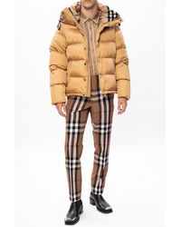 Burberry Down Jacket With Logo Brown