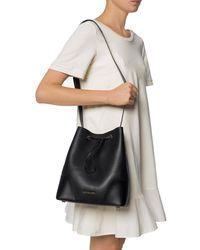 Michael Kors Cary Medium Leather Bucket Bag - Black