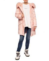 Yves Salomon Jacket With Fox Fur Pink