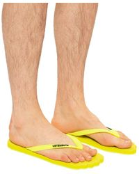 Vetements Logo Flip-flops Neon - Yellow
