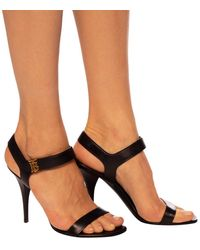 Burberry Heeled Sandals With Logo Black
